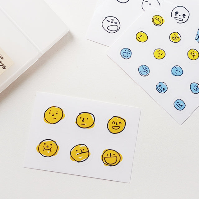 Some Mood Design | Yellow, Blue and Clear Drawing Face Sticker Sheets | Script + Sea