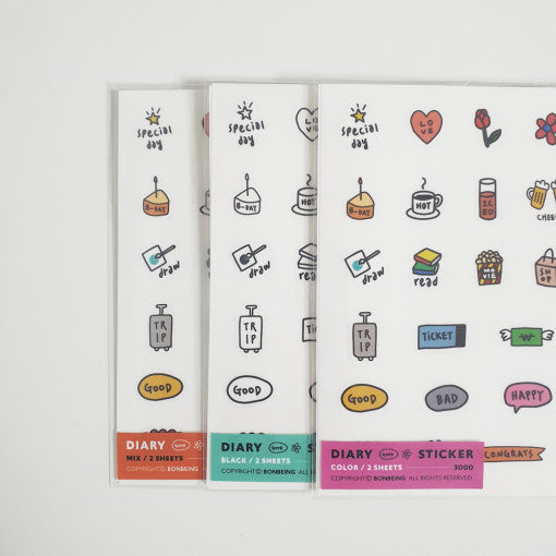 Bonbeing | Daily Life Diary Sticker Sheet | Script + Sea