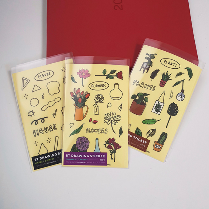 Bonbeing | Hand-Drawn Plants Sticker Sheet | Script + Sea