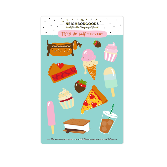The Neighborgoods | Treat Yo' Self Sticker Sheet | Script + Sea