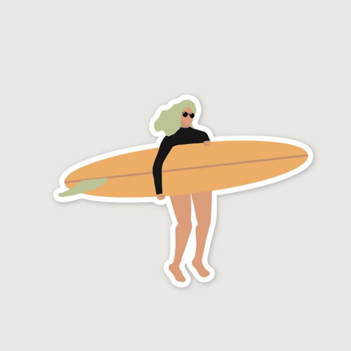 D.KCUM | Chic Surfer Girl Vinyl Die-Cut Sticker | Script + Sea