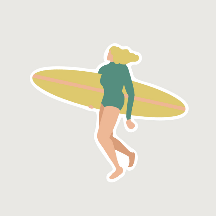 D.KCUM | Blond Surfer Girl Vinyl Die-Cut Sticker | Script + Sea