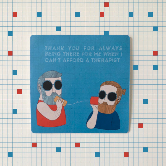 Malut Free Therapy Laptop Sticker by Script + Sea featuring two cartoon men in sunglasses talking through cups.