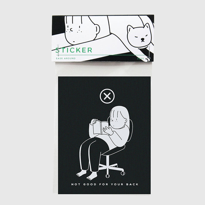 Black and white laptop sticker of a woman slouching down in her chair while reading a book.