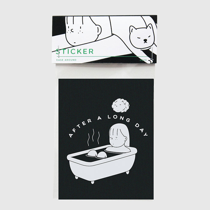 Black and white laptop sticker of a woman relaxing in her tub.