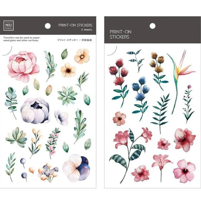 MU Lifestyle | Fine Floral Print-On Stickers | Script + Sea