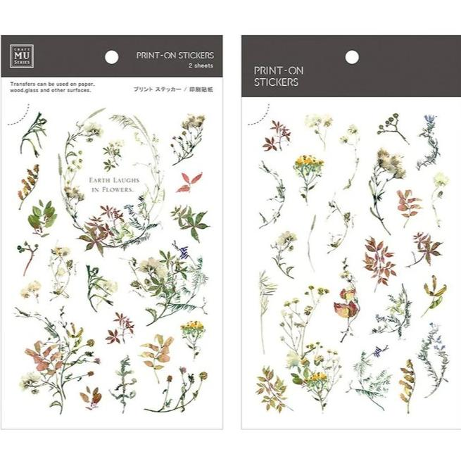 MU Lifestyle | Earth Flowers Print-On Stickers | Script + Sea