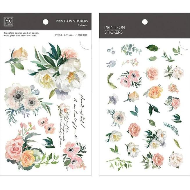 MU Lifestyle | Vintage Floral Print-On Stickers | Script + Sea