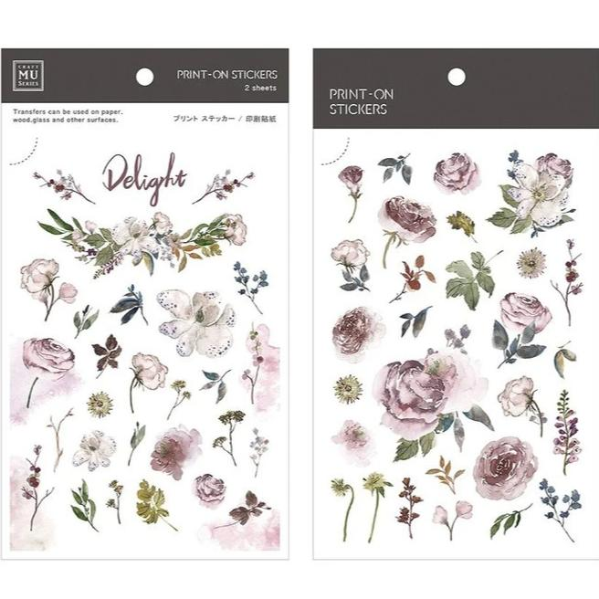 MU Lifestyle | Delight Floral Print-On Stickers | Script + Sea