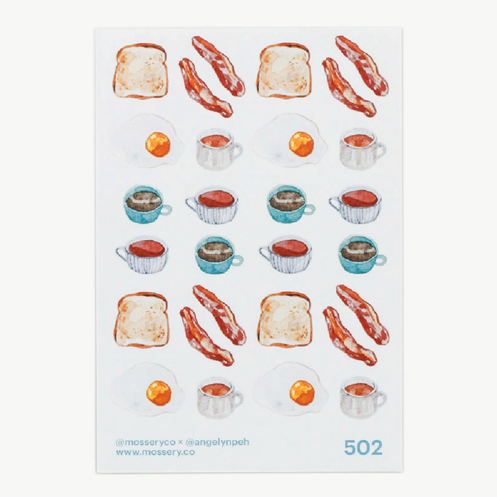 Mossery | Eggs, Bacon, Toast, & Drinks Sticker Sheet | Script + Sea