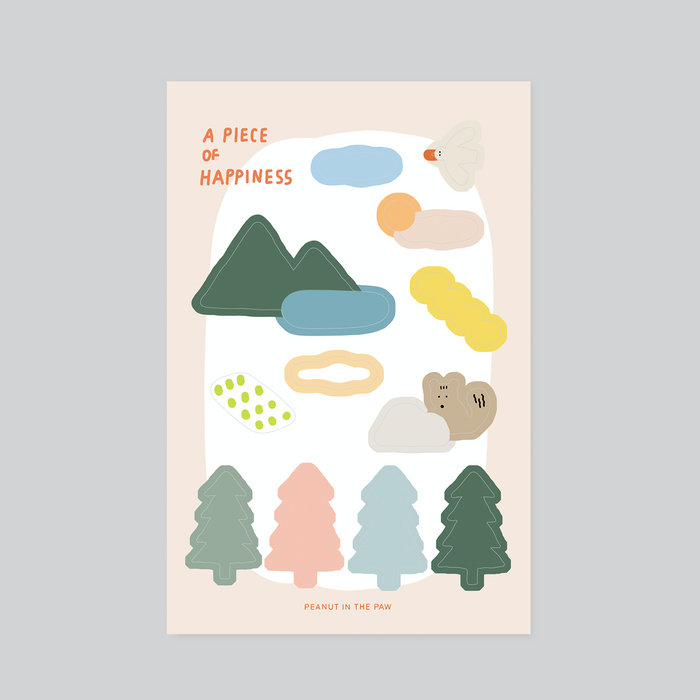 Peanut in the Paw | A Piece of Happiness Sticker Sheet | Script + Sea