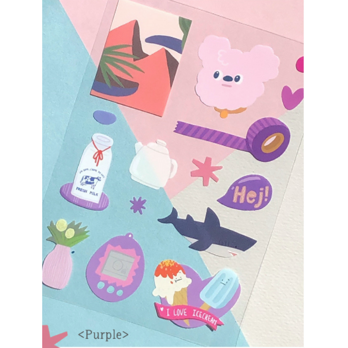 Oh?! Ssumthing! | Purple Sticker Sheet | Script + Sea