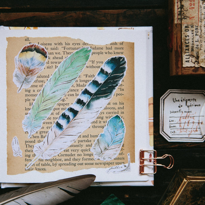 OURS | Paper Feather Sticker Sheet | Script + Sea