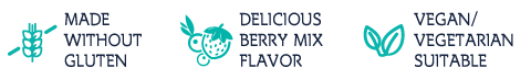 Children's Best Sugar-free Multi features. Made without gluten. Delicious berry mix flavor. Vegan/Vegetarian suitable.
