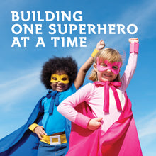 Load image into Gallery viewer, Building one superhero at a time. Children's Best Complete Multivitamin for Kids - Sugar free - chewable tablets with 27 different vitamins and minerals. Gluten free, 100% Vegan, No artificial colors or flavors