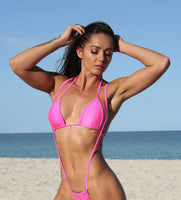 Neon Pink Basic Curtain Triangle Bikini Top