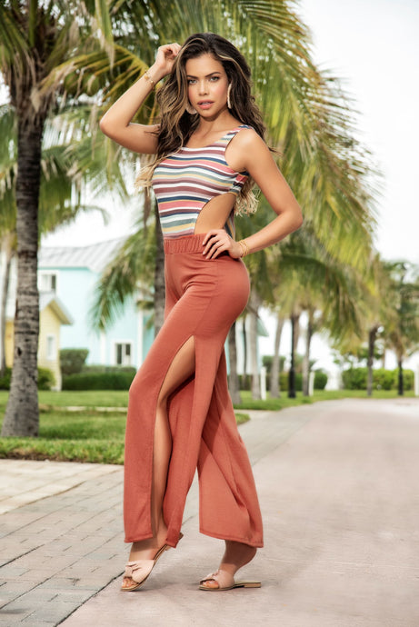 Stripes Terracotta High Leg Slit Jumpsuit With Tie Back