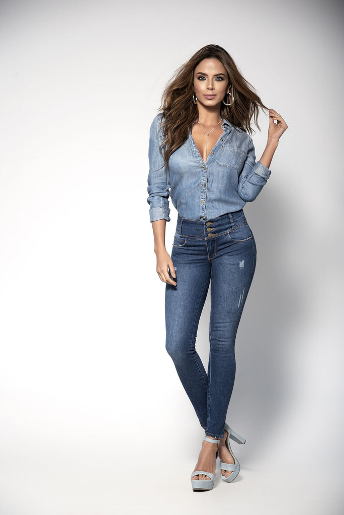 Skinny Stretch Jeans With Girdle Lining Colombian Butt Lifting Style
