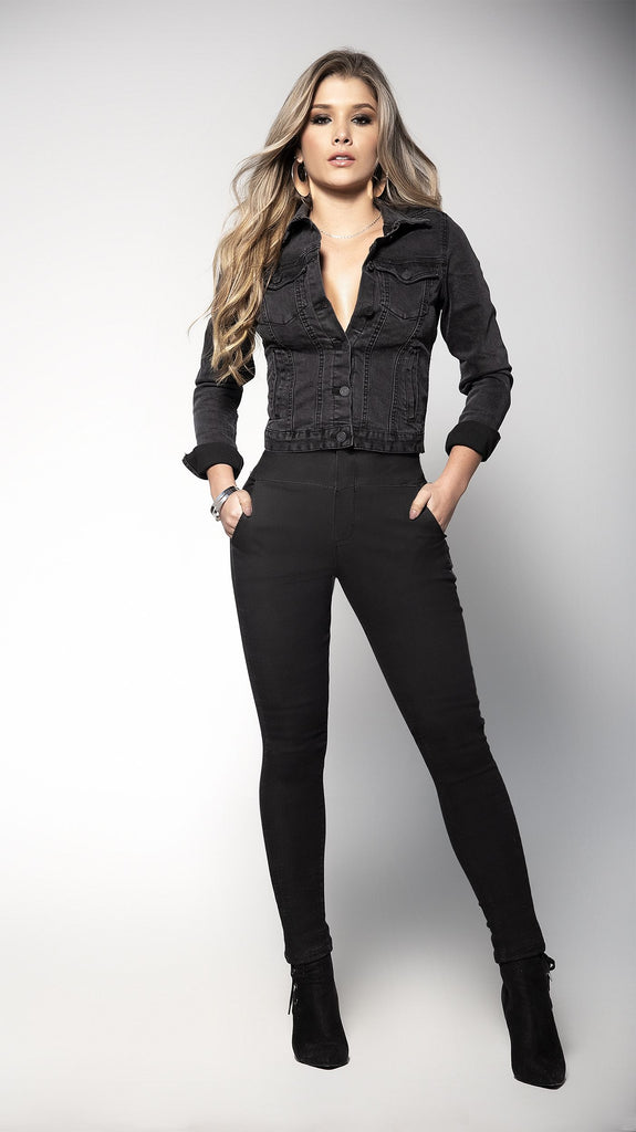 Black High Waisted Stretch Summer Jeans Featuring Back Bodice Detail