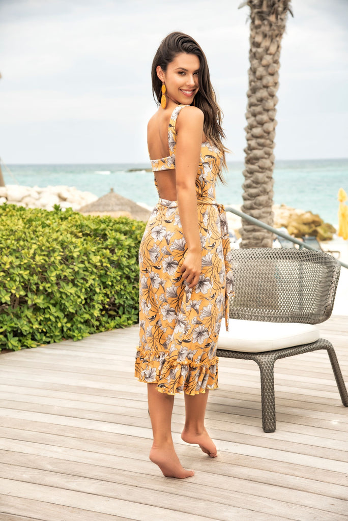 Sunshine Yellow Floral Print Sun Dress
