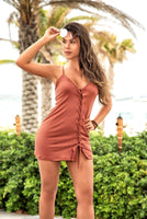 Terracotta Laced Front Light Weight Summer Dress
