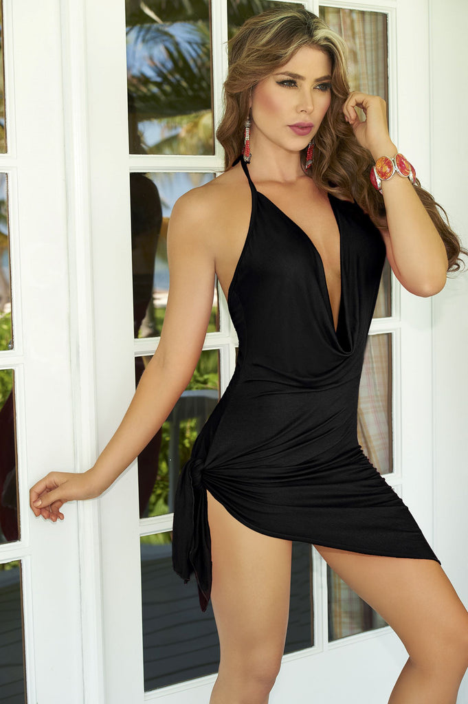 Sexy Black Plunging Summer Dress featuring Spaghetti Strap Halter