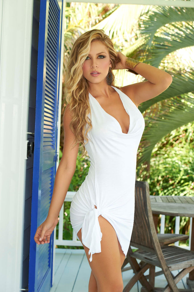 Sexy White Plunging Summer Dress featuring Spaghetti Strap Halter