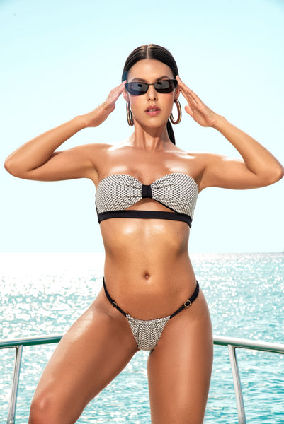 Black and White Bow Style Bandeau Two Piece Swimsuit