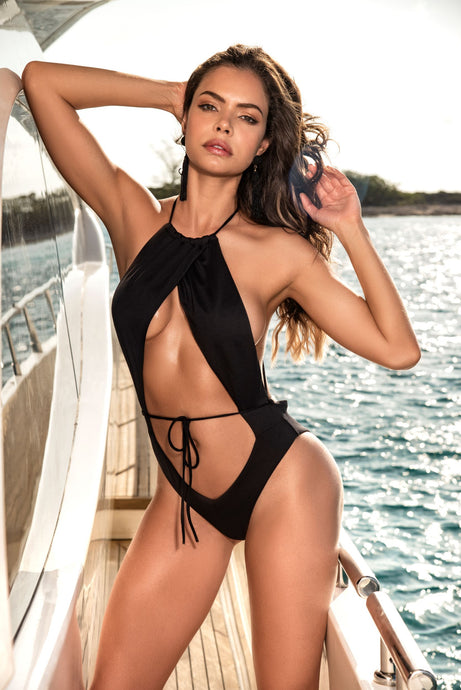 Black Keyhole Monokini With High Cut Hips