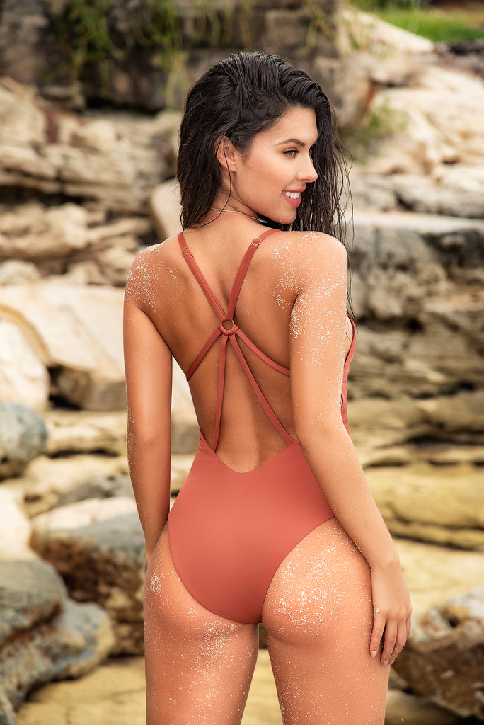 Handmade One Piece Women Swimsuit With Macrame Embellishment