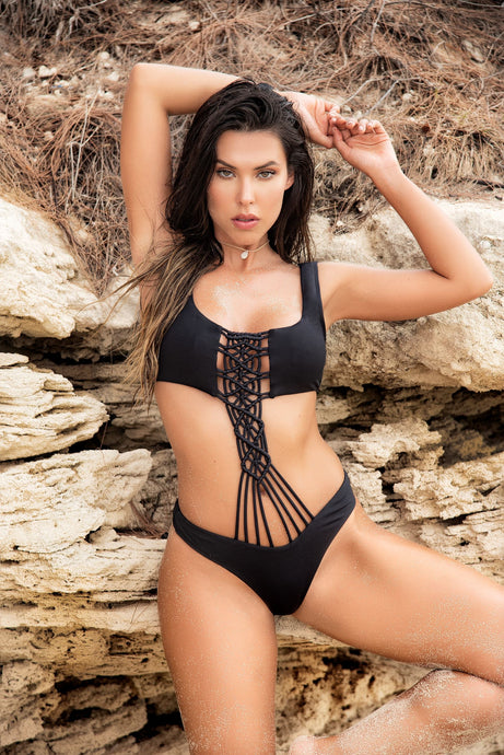 Handmade Black Monokini With Macrame Embellishment