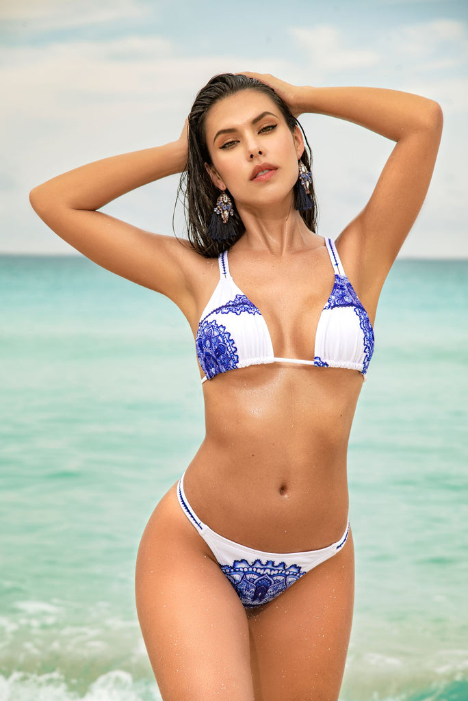 Blue Mediterranean Print Two Piece Swimsuit With Thong Bottom