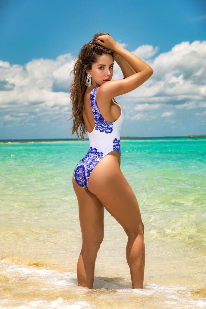 Blue And White  One Piece Swimsuit