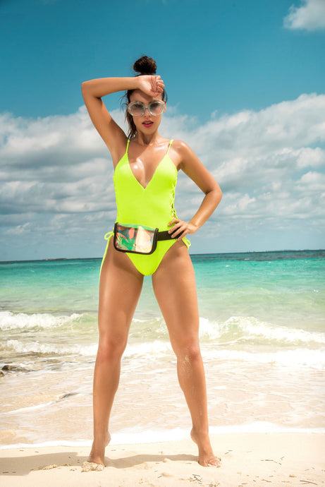 Neon Green One Piece Swimsuit Cute Beachwear