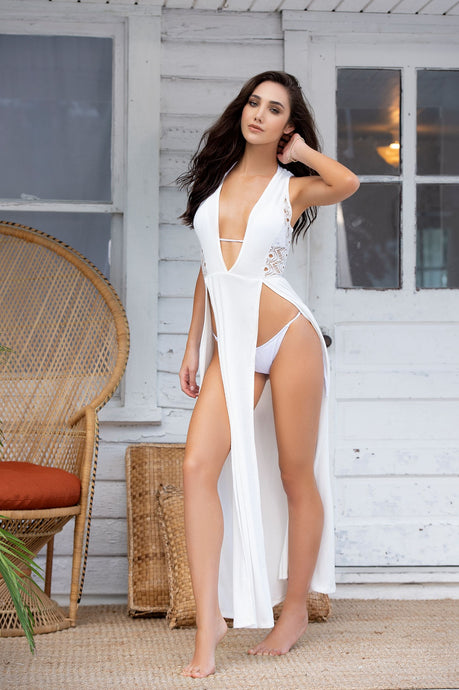 Alluring Long White Crochet Cover Up Dress