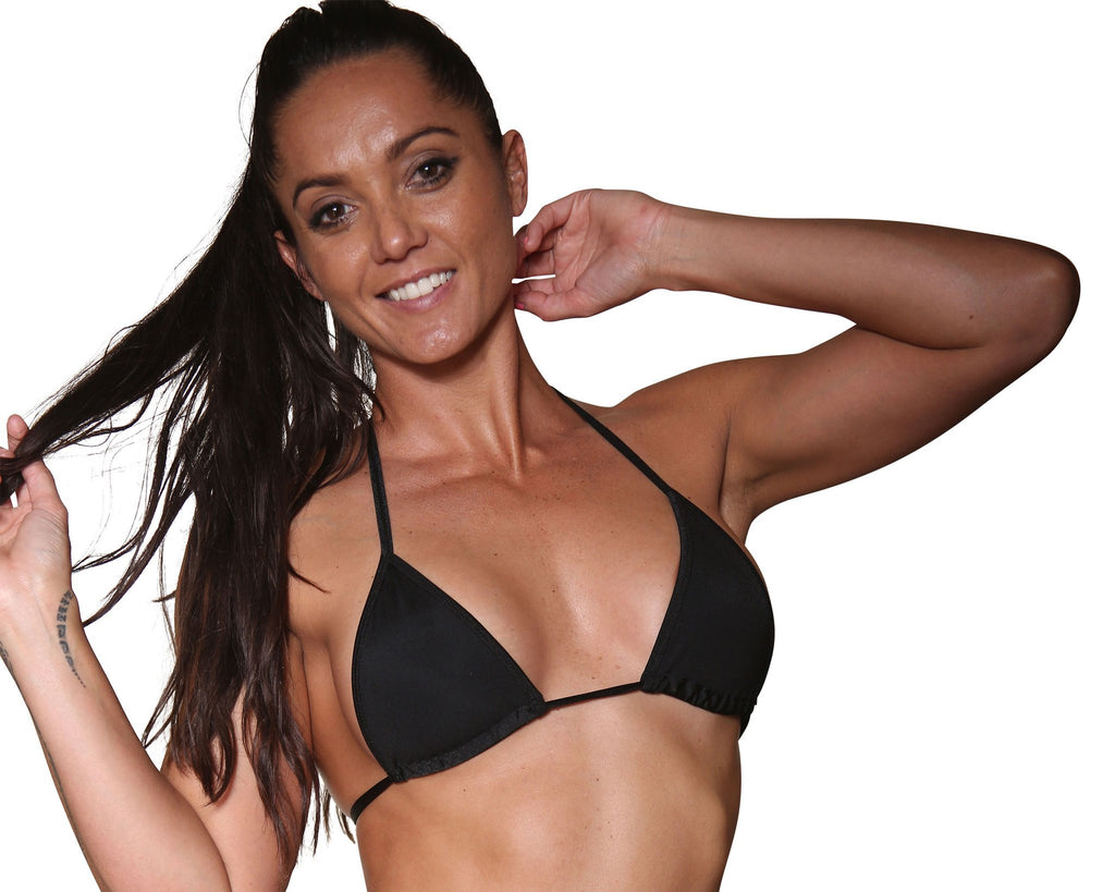 Black Basic Curtain Triangle Bikini Top