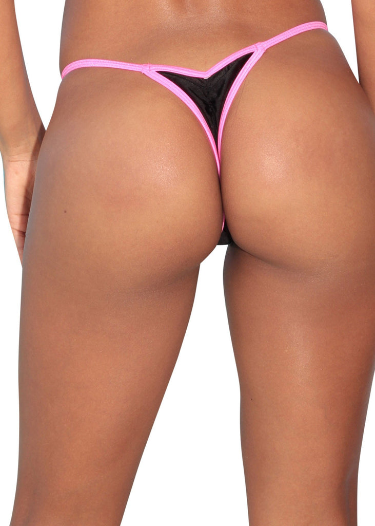 Black Mini Scrunch Thong Bikini Bottom
