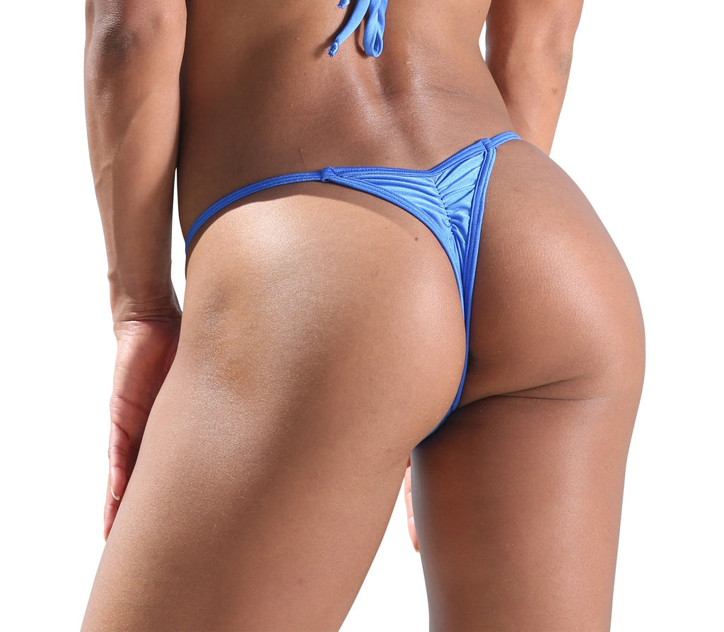 Royal Blue Mini Scrunch Thong Bikini Bottom