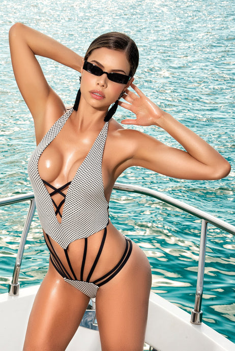 BLACK AND WHITE CAGE STYLE MONOKINI WITH PLUNGING NECKLINE
