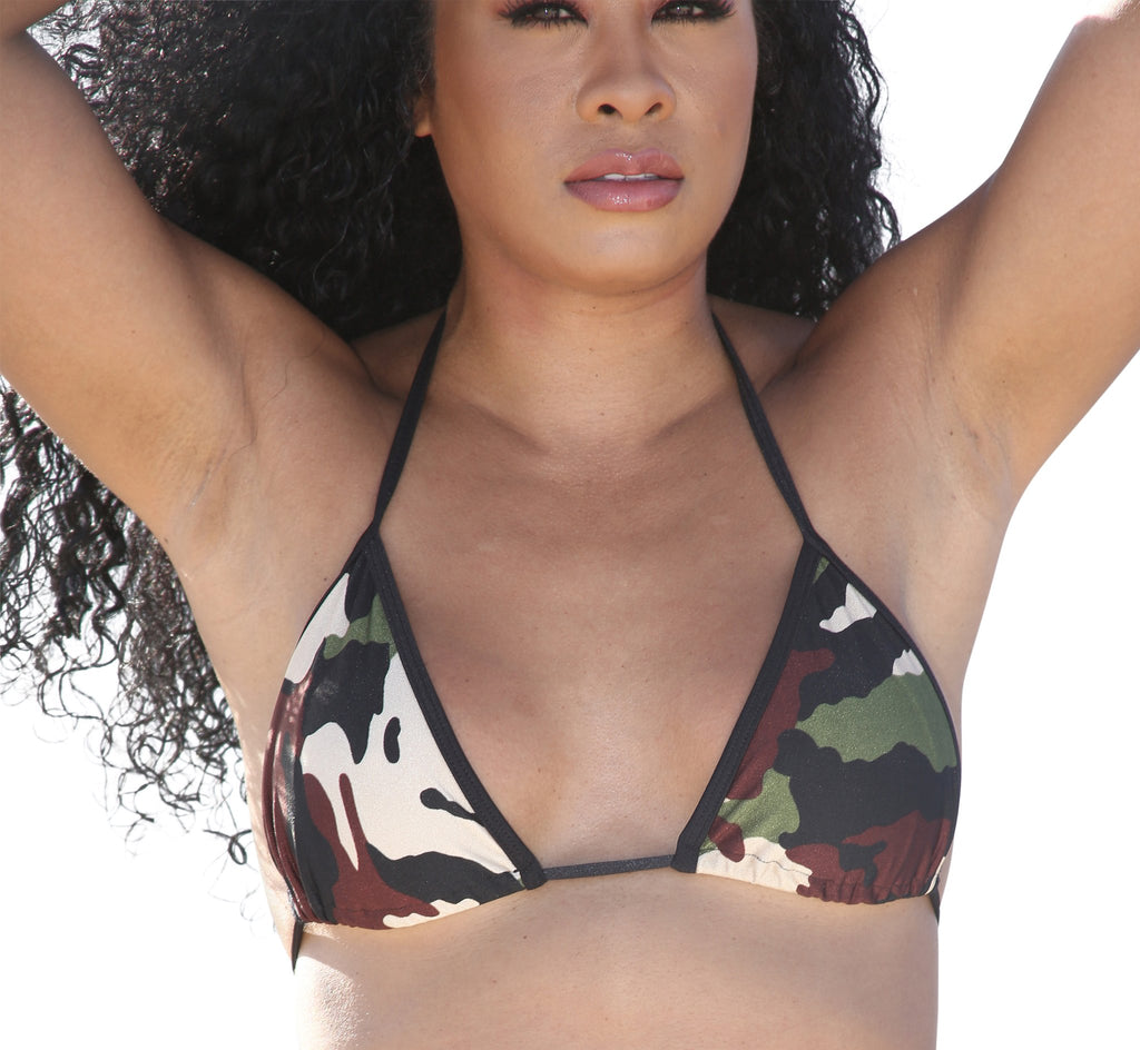 Camo Print Full Curtain Triangle Bikini Top