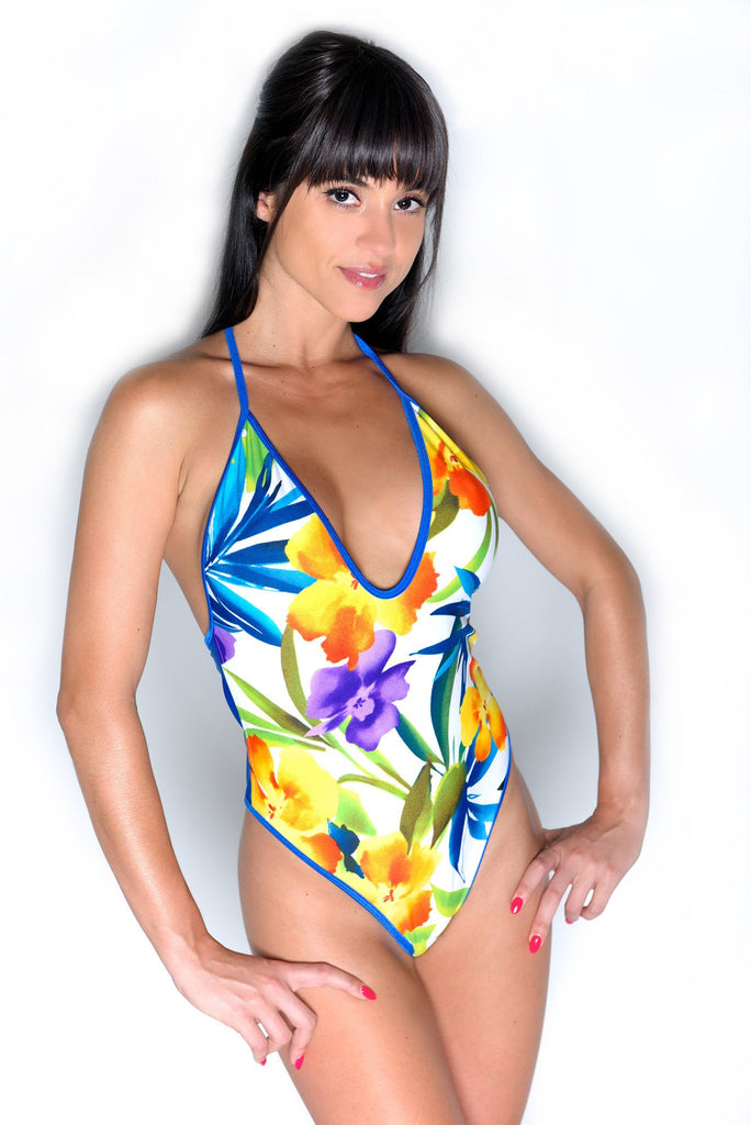 Beautiful Custom Floral Print Bodysuit One Piece Swimsuit