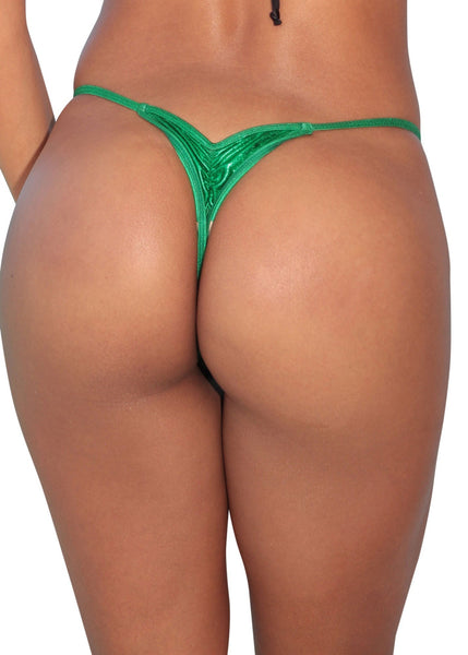 Green Metallic Mini Scrunch Thong Bikini Bottom