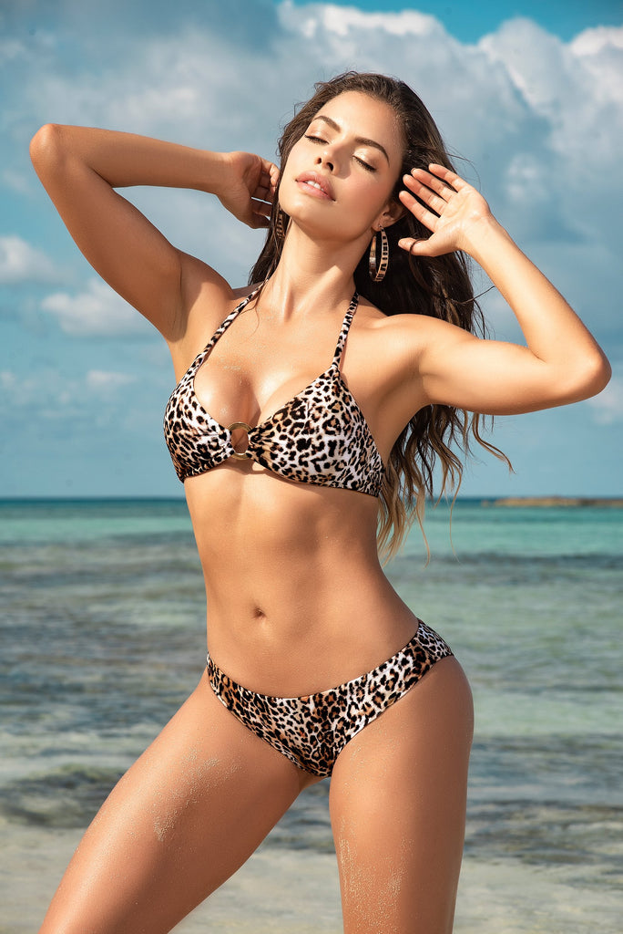 LEOPARD PRINT TWO PIECE BIKINI