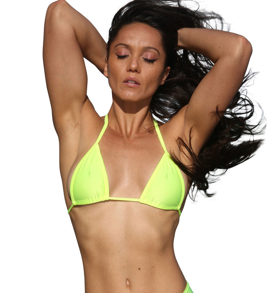 Neon Yellow Basic Curtain Triangle Bikini Top