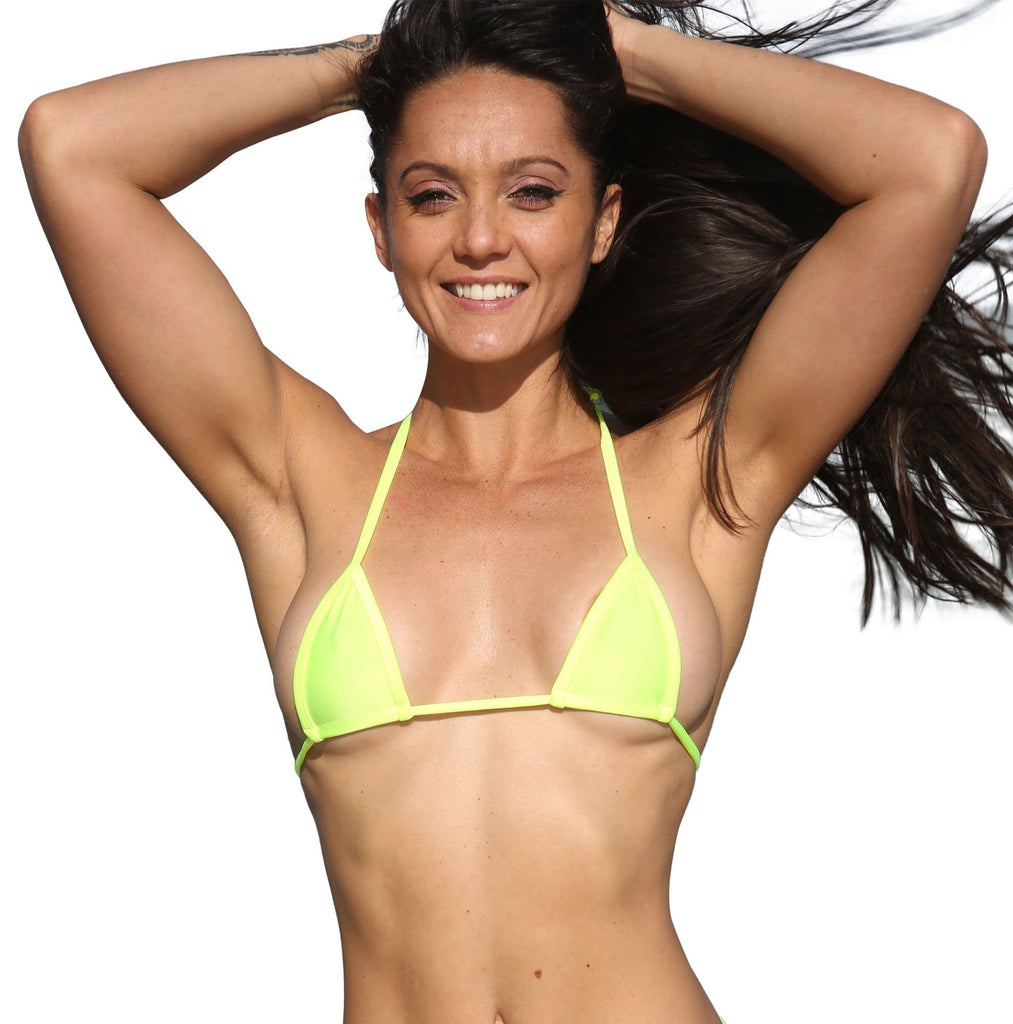 Neon Yellow Micro Mini Curtain Triangle Bikini Top