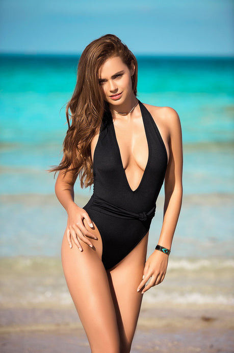 ONE PIECE BLACK PLUNGING FRONT SWIMSUIT