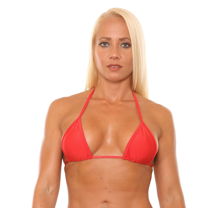 Red Basic Curtain Triangle Bikini Top