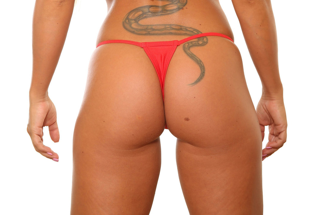 Red Low Rise Mini Thong Bikini Bottom
