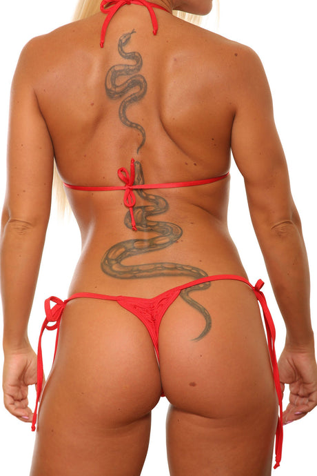 Red Tie Side Mini Scrunch Thong Bikini Bottom