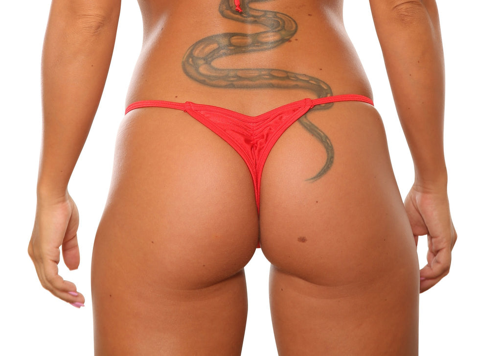 Red Mini Scrunch Thong Bikini Bottom